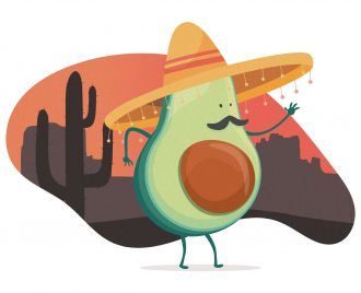 Avocado wearing a sombrero