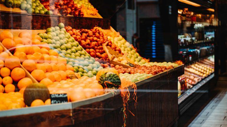 Fruit on a supermarket shelf