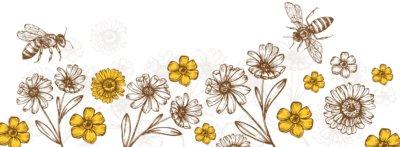 Abelhas em campo de flores