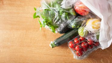 Vegetables packaged in plastic bags