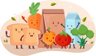 Dairy, fruit and vegetables illustration