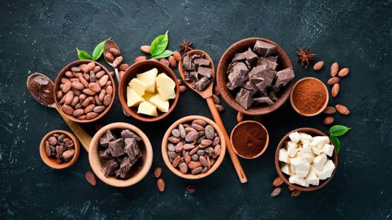 Several types of chocolate and cocoa