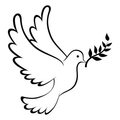 A pomba da paz carrega um ramo de oliveira