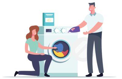 Encha a máquina de lavar