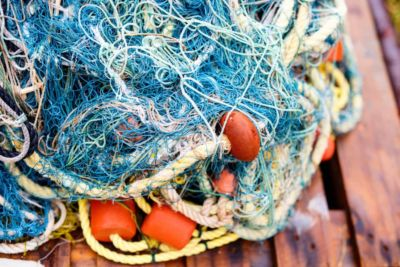 Nets, ropes and plastic tools used in fishing